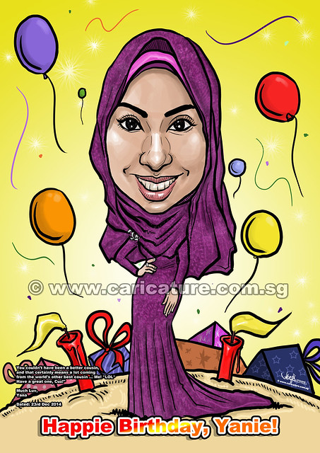 digital Malay birthday caricature wearing nice long dress long-sleeved (watermarked)
