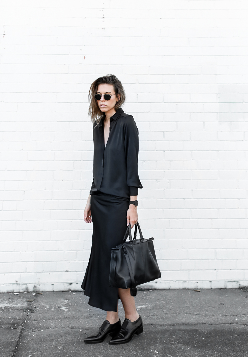 modern legacy, street style, christopher esber, silk shirt dress, stella mccartney loafers, navy, black, style
