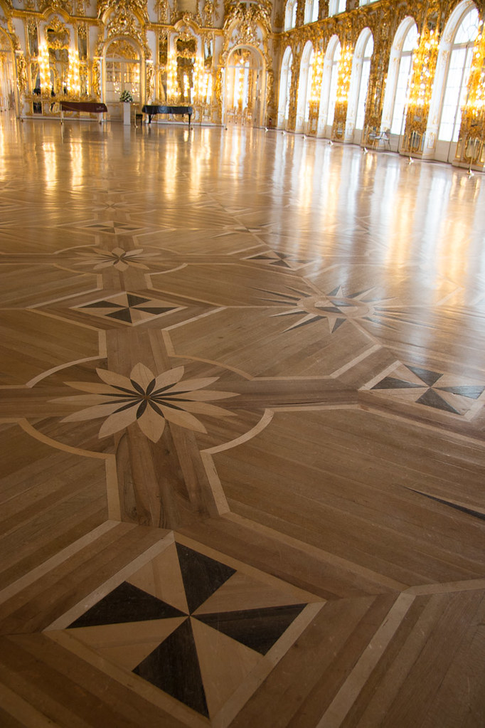 Wooden floors in ballroom at Catherine Palace