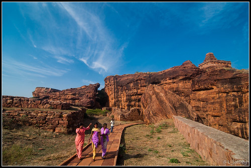 travel blue sky india architecture clouds temple ruins fort walk top hill tourist visitors badami ujjal ujjaldey uppershivalayatemple