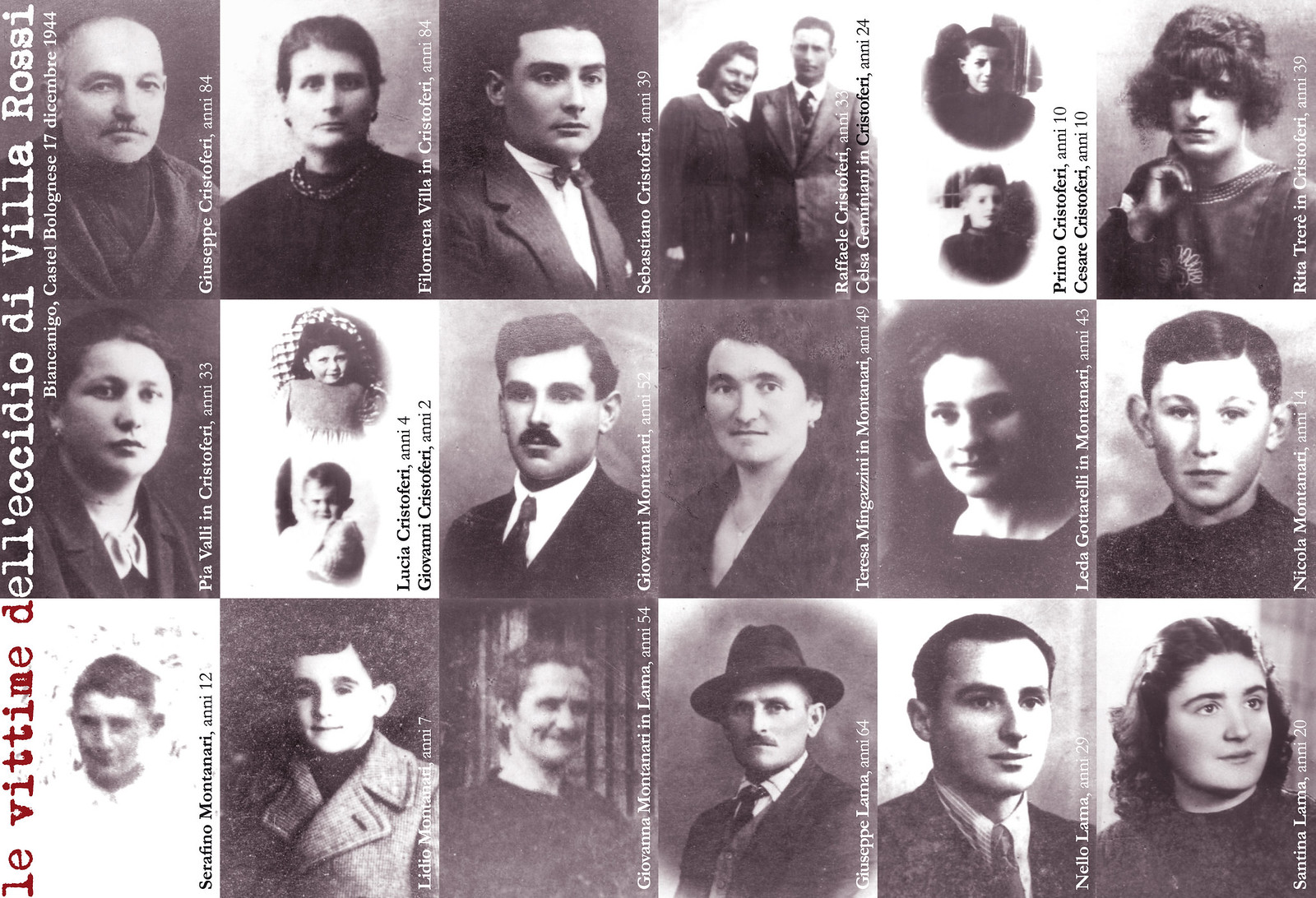 Domenica 11 dicembre si ricorda l'Eccidio di Villa Rossi a Castel Bolognese