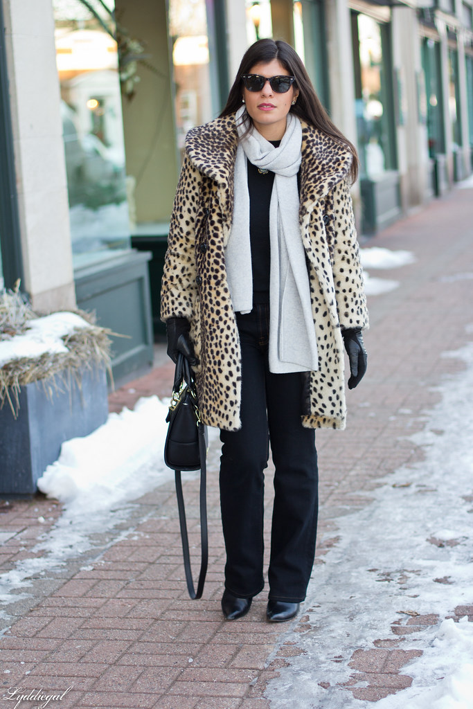 leopard coat, flared jeans, grey scarf.jpg