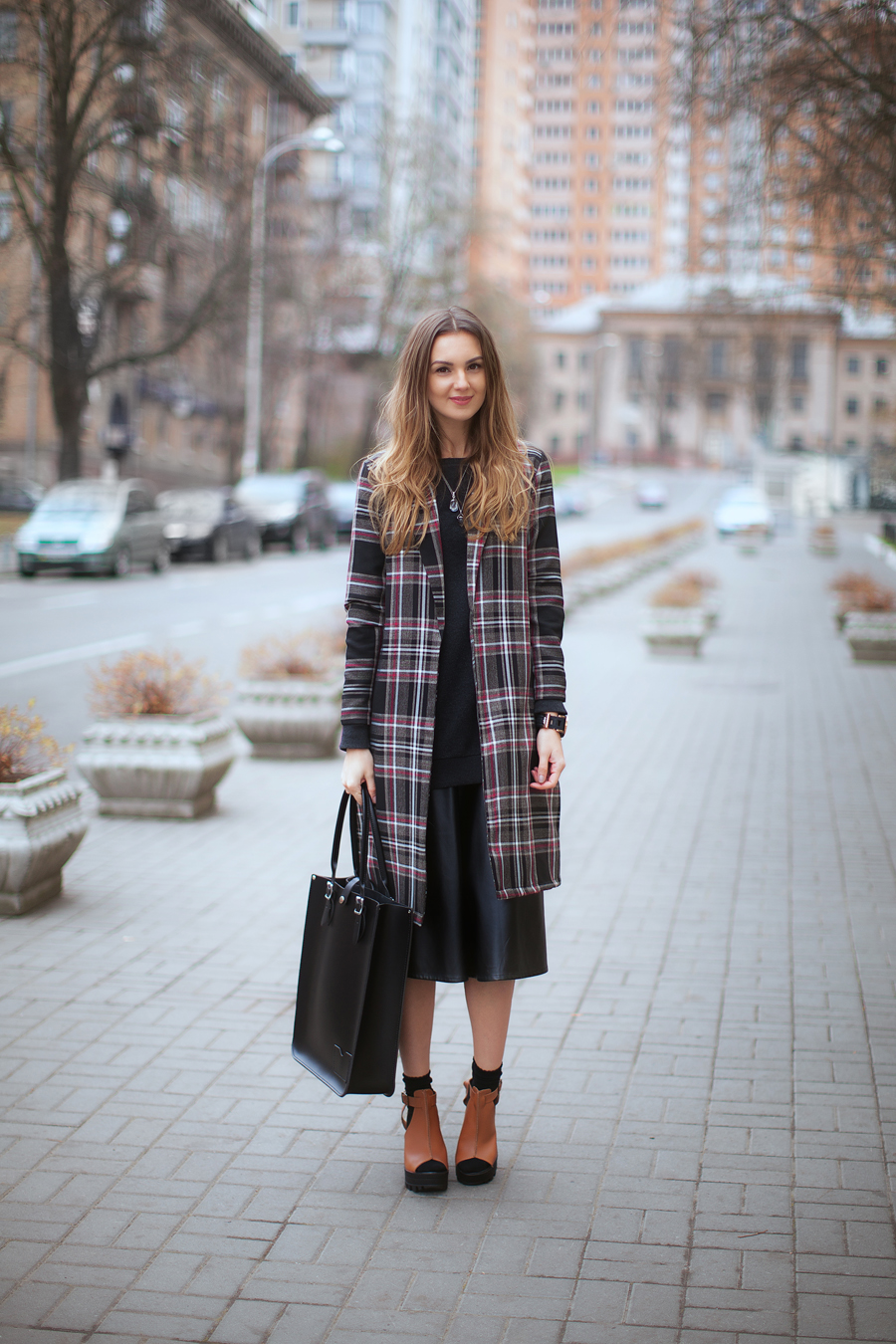 street-style-plaid-coat-midi-skirt-outfit