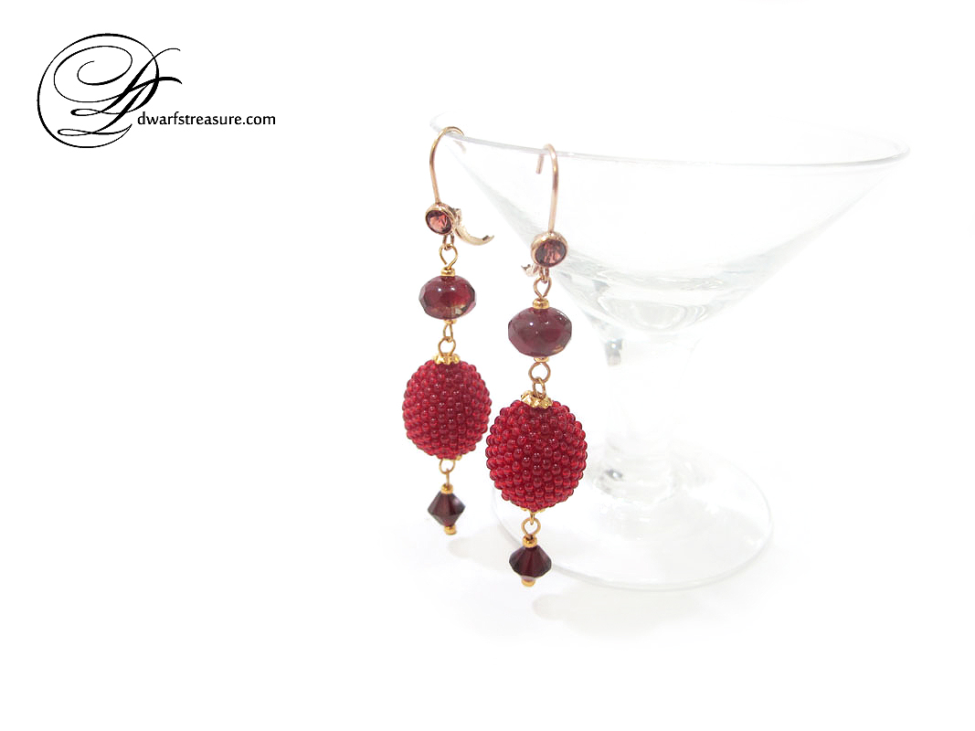 unique ruby red bead bead earrings with garnet Swarovski crystals