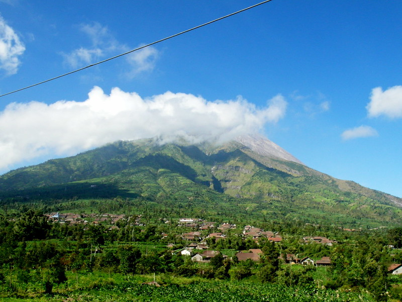 View of Mount Merapi from the village, Jogjakarta