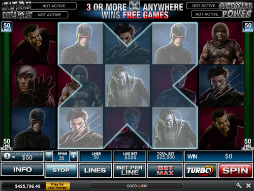 free X-Men 50 Line bonus game