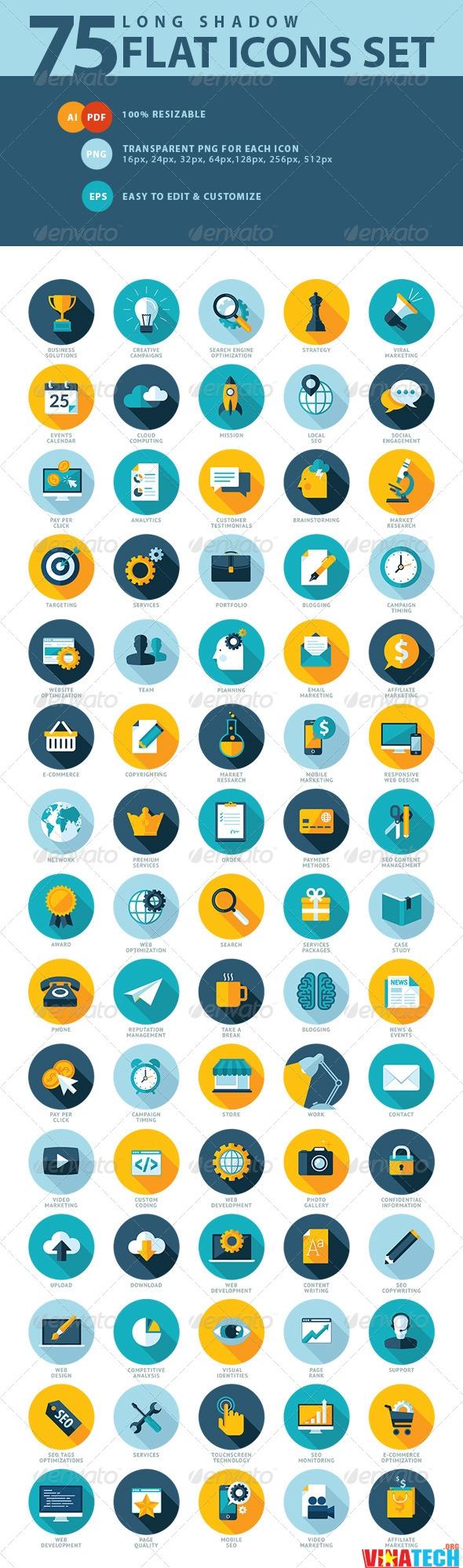 Download 75 mẫu icon Seo services Flat Design