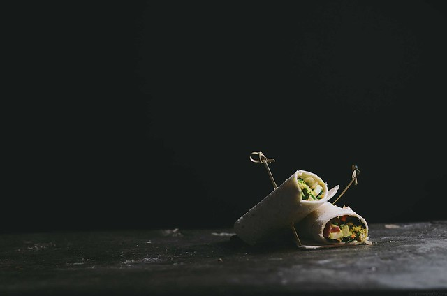 green chickpea salad, pickled black radish and turmeric root, turmeric almond cream in a wrap | A Brown Table