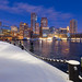 Downtown Boston Skyline over Icy Harbor and Snowy Fan Pier Harborwalk at Dawn with Nautical Chain, South Boston Massachusetts by Greg DuBois Photography