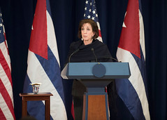 Assistant Secretary for the Bureau of Western Hemisphere Affairs Roberta Jacobson delivers remarks on U.S.-Cuba talks to re-establish diplomatic relations at the U.S. Department of State in Washington, DC on February 27, 2015. [State Department photo/ Public Domain]
