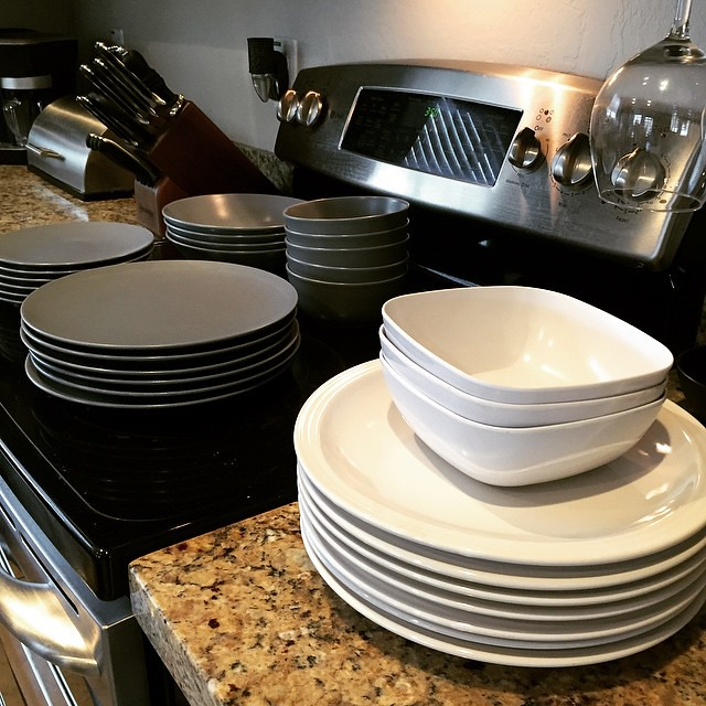Getting rid of stuff!! (Again, lol) IKEA grey-blue dish set - 6 soup bowls, plates, and small plates, 4 pasta bowls. 7 white stoneware plates, and 3 squarish plasticky bowls (very descriptive!) you can come get them for free or throw us a few bucks if you
