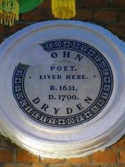 Photo of John Dryden white plaque
