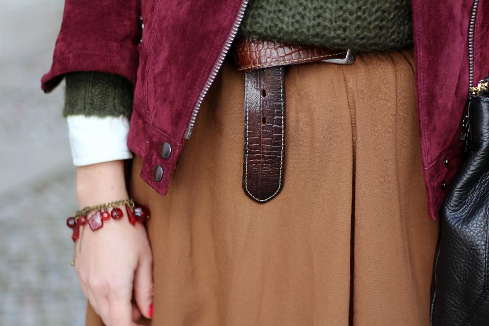 Mango Leatherjacket brown skirt