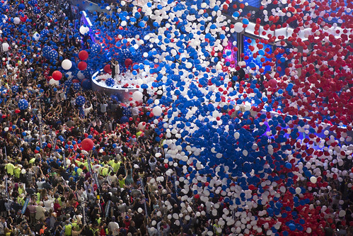 The balloon drop at the end of the Democratic convention
