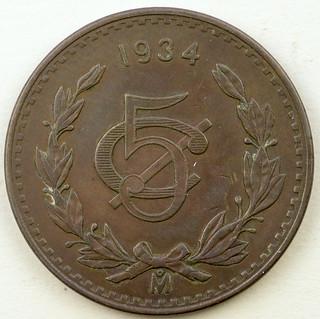 Coin photography - 1934 Mexico 5 cents