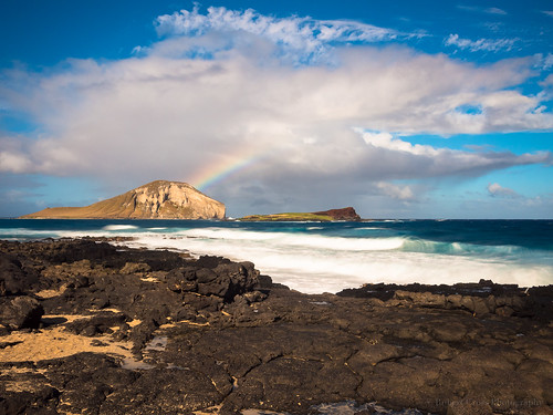 longexposure seascape beach clouds landscape island hawaii lava rainbow sand rocks surf waves oahu bluesky olympus pacificocean honolulu waimanalo hawaiikai omd makapuu rabbitisland em5