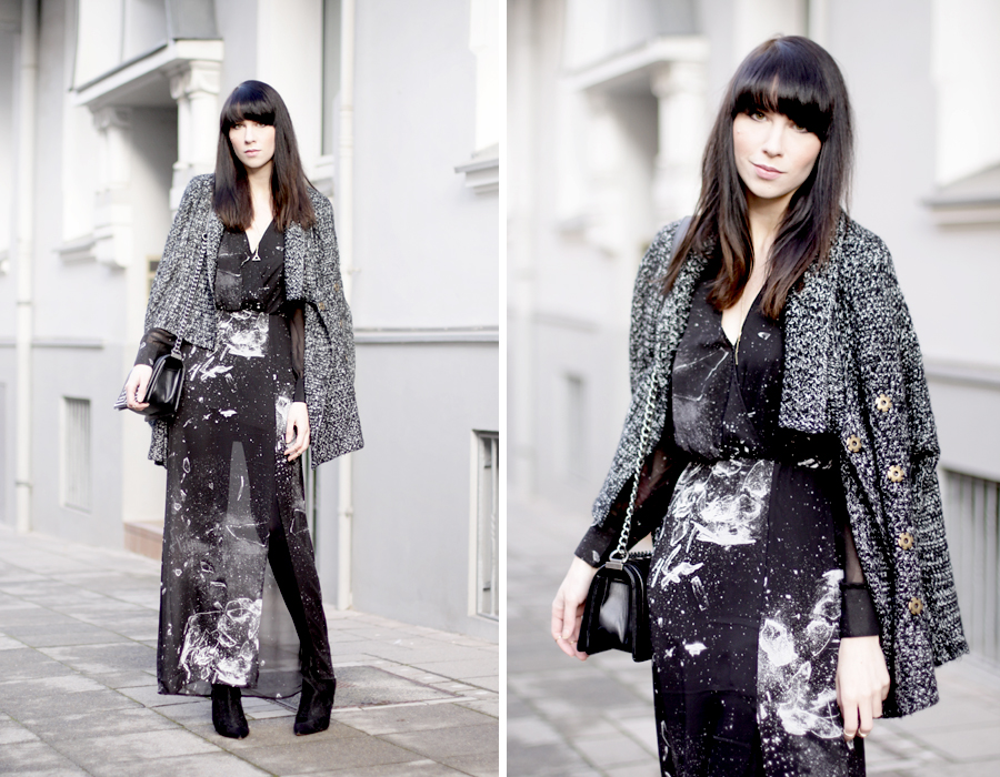 long maxi dress black glass shattered print space hipster cool sexy brunette bangs french german heels lace sheer ricarda schernus blog modeblog fashionblog cats & dogs hannover berlin girl 6