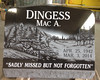 Single Black Slant Headstone - Dingess