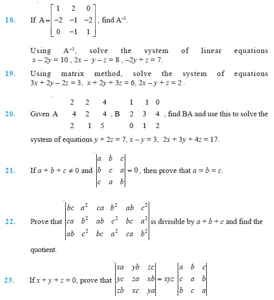 Class 12 Important Questions for Maths – Determinants