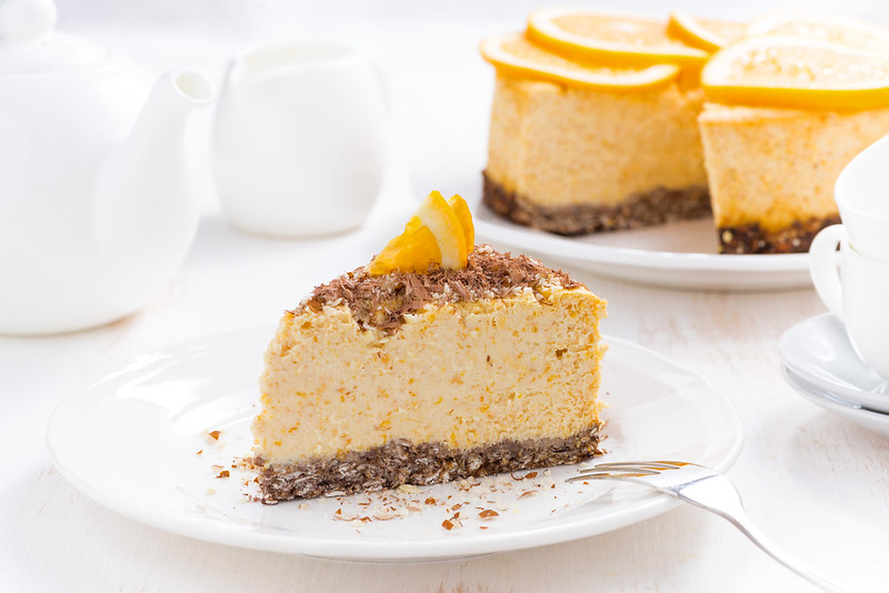 piece of orange cheesecake