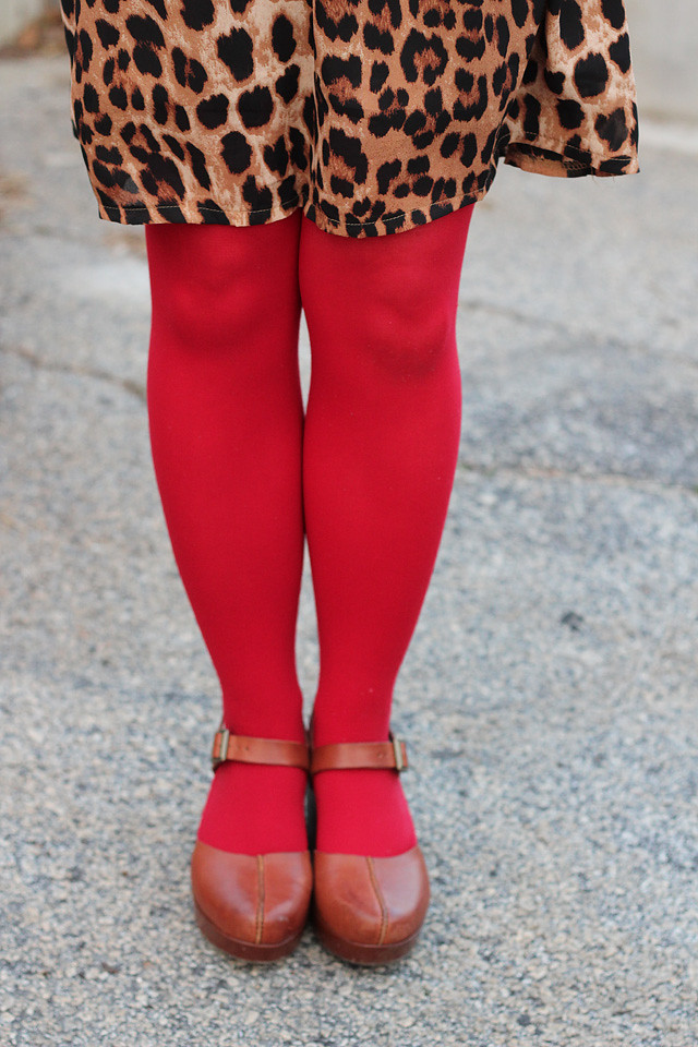 Red Tights, Leopard Print Dress, and Brown Clogs