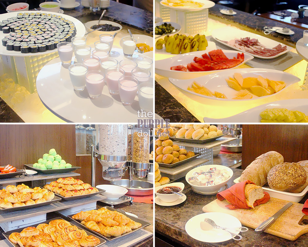 F1 Hotel Breakfast sushi yogurt breads cereals
