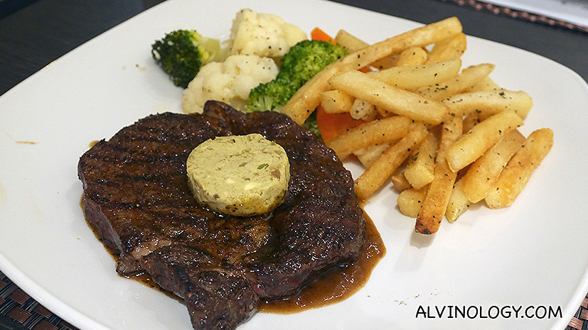 Stirling Signature Charcoal Grilled Steak, 250g (S$35) - Slow charcoal grilled before finishing off with intense heat. Topped with avocado butter, in-house seasoning and gravy. Served with sautéed vegetable and truffle fries.