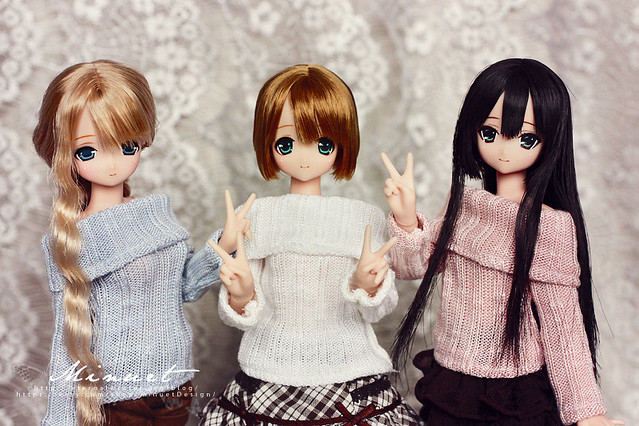 Pure Snow, Candy Blue & Pink sweaters for Azone Pureneemo