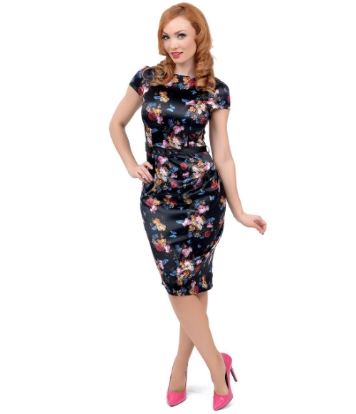 1940s Style Black Floral Satin Old Masters Wiggle Dress