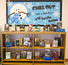Books by WSC authors on display in Conn library