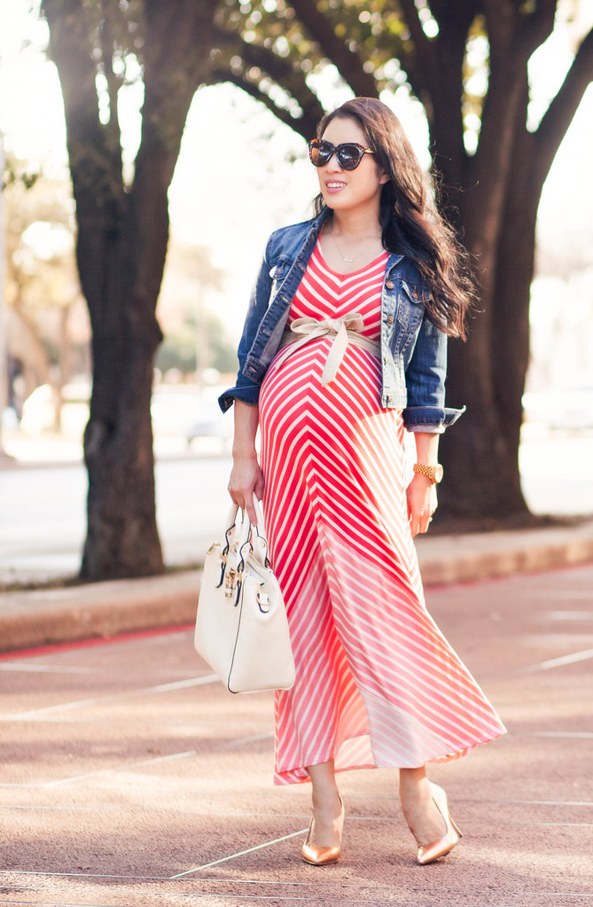 Coral Chevron Dress