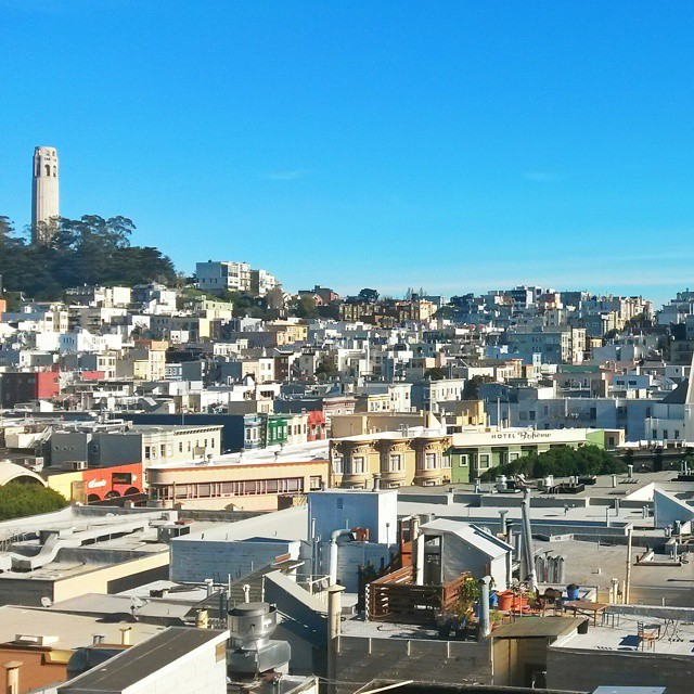 View over North Beach to Coit tower.From a parking garage!