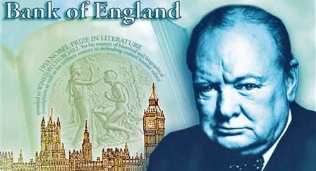 Billete de 5 Libras con la imagen de Churchill