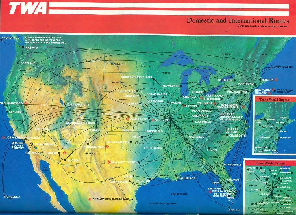 Twa Domestic Route Map December 1991 Trans World