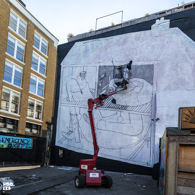 Street Art Mural by London Street Artist Phlegm
