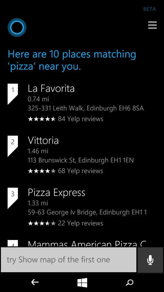 Cortana search nearby
