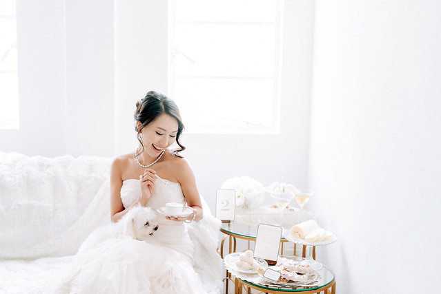 White wedding, style shoot, Multifolds, Tangyong Makeup, Heaven in Wild Flower, pure, flowers, white on white, wedding, jewellery, desserts, Melissa Celestine Koh, Truly Enamoured, Tiffany and Co Jewellery, white dog