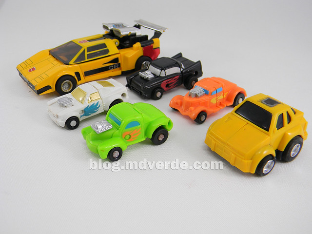 Transformers Micromaster Hot Rod Patrol (Big Daddy, Trip Up, Greaser, Hubs) - Transformers G1 Micromasters - modo alterno vs Sunstreaker vs Hubcap