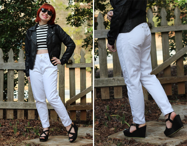 White Retro Tapered Jeans, Leather Jacket, Striped Mock Turtleneck, and Black Wedges