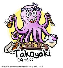 Takoyaki Express Cartoon Logo
