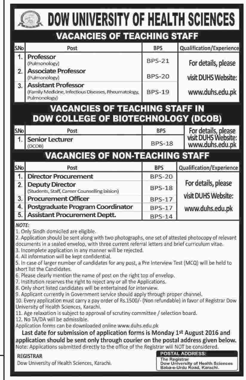 Dow University of Health Sciences Jobs Teaching and Non-Teaching