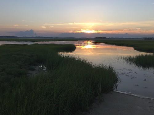 sunset summer water grass reflections duxburybeach duxburyma