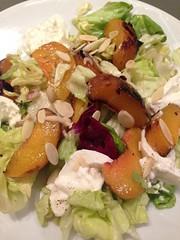 Peach salad with burrata, cumin, and toasted almon…