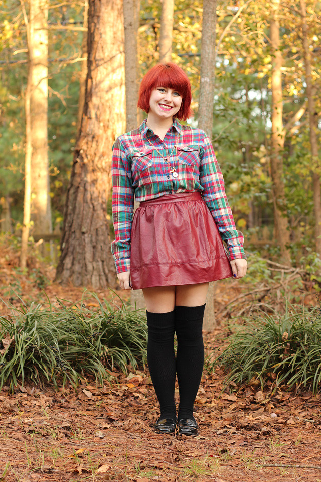 Plaid Flannel Shirt, Oxblood Leather Skirt, Over the Knee Socks, and Loafers