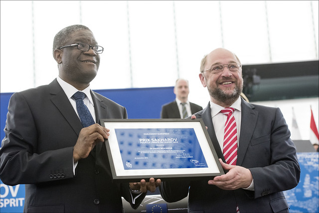 Sakharov laureate Denis Mukwege and the president of the European Parliament, Martin Schulz