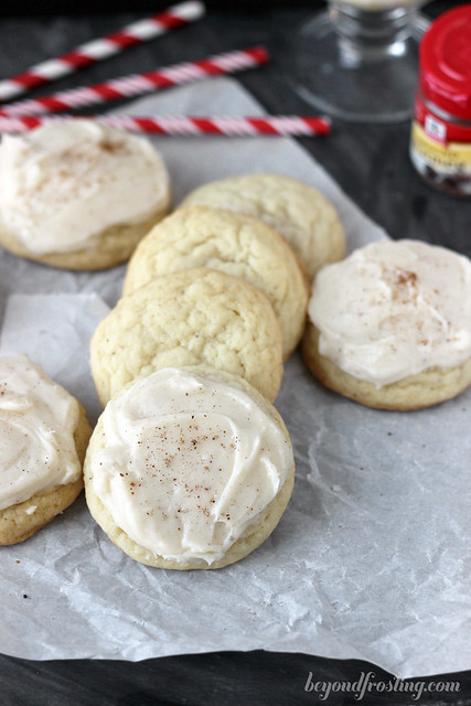 Melt-in-your-mouth Eggnog Sugar Cookies with an Eggnog Buttercream