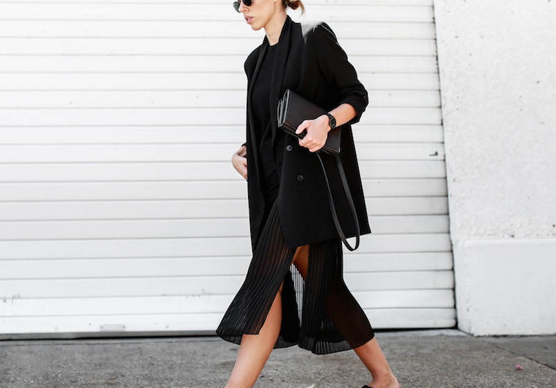MODERN LEGACY Celine slide sandals all black street style pleated sheer split skirt Bassike tank fashion blog Australia (12 of 13)