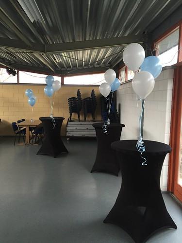 Tafeldecoratie 3ballonnen Lichtblauw Wit