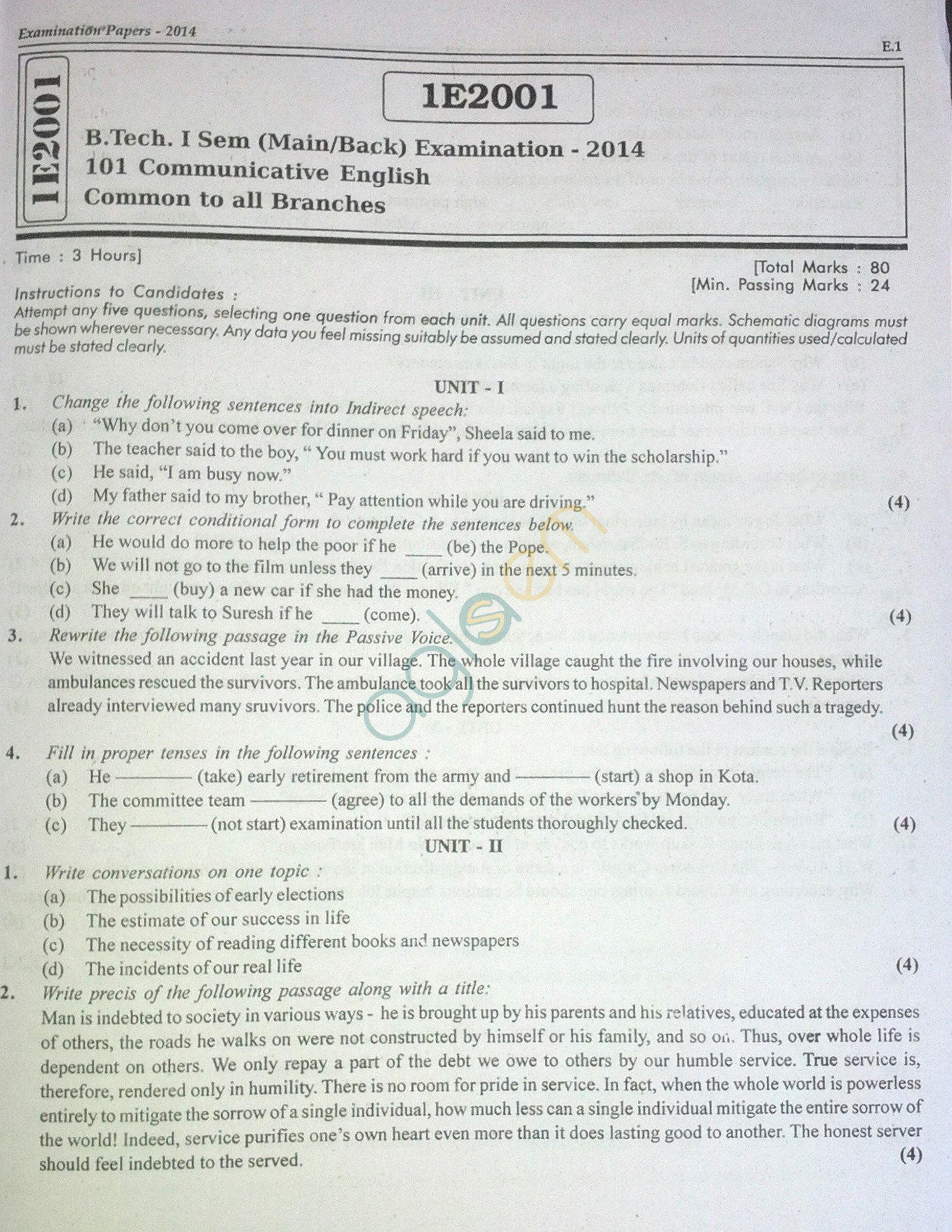 RTU: Question Papers 2014 - 1 Semester - All Branches - 1E2001