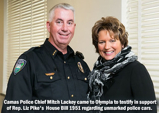Rep. Pike with Camas Police Chief Mitch Lackey